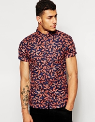 Another Influence Shirt In Fern Print Navy