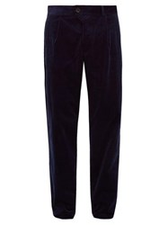Oliver Spencer Cotton Blend Pleated Corduroy Trousers Blue
