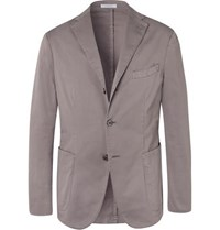Boglioli Stone K Jacket Slim Fit Unstructured Stretch Cotton Twill Suit Jacket Taupe