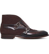 Magnanni Double Monk Leather Boots Brown
