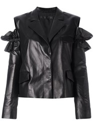 Drome Slit Shoulders Leather Jacket Black