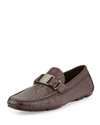 Salvatore Ferragamo Sardegna 2 Crocodile Vara Driver Brown