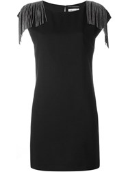Saint Laurent Fringed Shift Dress Black