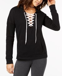Material Girl Active Juniors' Lace Up Pullover Hoodie Created For Macy's Noir