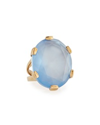 Stephen Dweck Blue Agate And Natural Quartz Doublet Oval Ring 7