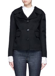 Valentino Pleated Back Overlay Virgin Wool Cashmere Jacket Black