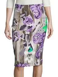 Versace Printed Pencil Skirt Purple Print