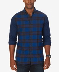 Nautica Men's Slim Fit Helmsman Colorblocked Plaid Shirt Estate Blue