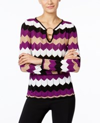 Inc International Concepts Petite Zizag Sweater Only At Macy's Purple Paradise