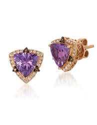 Le Vian 0.90Tcw Diamonds Amethyst And 14K Rose Gold Chocolatier Stud Earrings