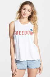 Junior Women's Rip Curl 'Freedom' Muscle Tee White