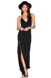 Blue Life One Slit Halter Maxi Black