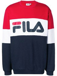 Fila Logo Print Colour Block Sweatshirt Red