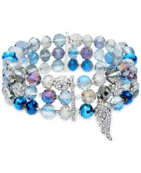 Lonna And Lilly Bead Crystal Stretch Bracelet Blue Gold