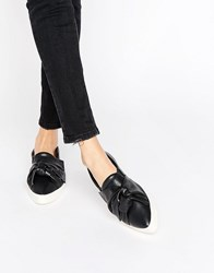 Mango Bow Detail Slip On Trainer Pointed Black