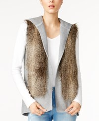 Tommy Hilfiger Carolina Hooded Faux Fur Vest Only At Macy's Medium Grey