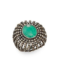 Bavna Emerald Champagne Diamond And Sterling Silver Ring Green