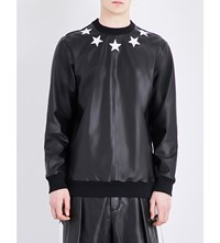 Givenchy Star Applique Leather Sweatshirt Black