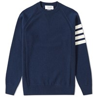 Thom Browne Arm Stripe Cashmere Crew Sweat Blue