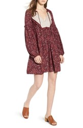 Hinge Mix Print Peasant Dress Red Tannin Woven Floral Mix