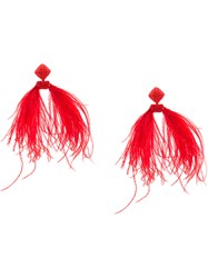 Sachin Babi And Beaded Ostrich Feather Earrings Red