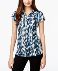 Alfani Cap Sleeve Printed Polo Top Only At Macy's