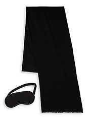 Ugg Two Piece Cashmere Scarf And Eye Mask Travel Gift Set Black