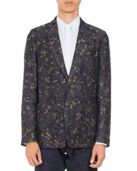 Dries Van Noten Bailey Floral Print Two Button Sport Jacket Navy