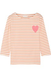 Chinti And Parker Printed Striped Cotton Jersey T Shirt Orange