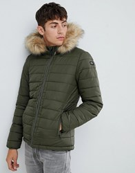 Schott Rocky 2 Hooded Puffer Bomber With Detachable Faux Fur Trim In Green