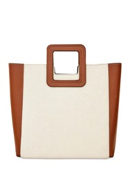 Staud Shirley Canvas And Leather Bag W Pouch Natural