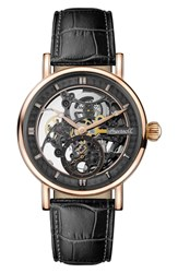 Ingersoll Herald Automatic Skeleton Leather Strap Watch 40Mm