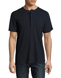 French Connection Solid Henley Tee Marine Blue