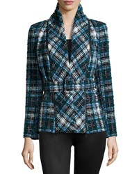 Oscar De La Renta Plaid Shawl Collar Belted Jacket Ocean