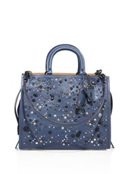 Coach Star And Dot Studded Pebble Leather Tote Blue