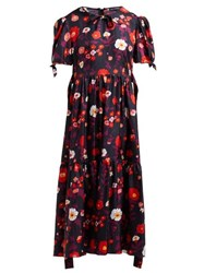 Vika Gazinskaya Floral Print Silk Satin Dress Black Multi