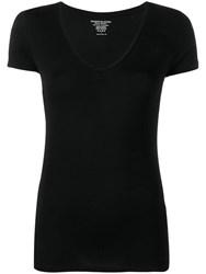 Majestic Filatures V Neck Fitted T Shirt Black