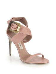 Burberry Marham Leather Criss Cross Sandals Blush