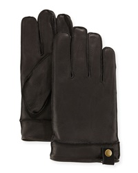 Neiman Marcus Snap Tab Leather Gloves Black