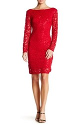 Marina Long Sleeve Lace Sequin Dress Red