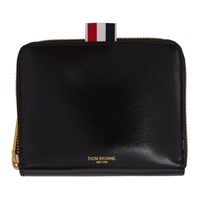 Thom Browne Black Short Zip Around Wallet