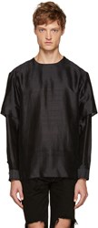 Christian Dada Black Raw Edge Layered Top