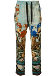 Dolce And Gabbana Amore E Bellezza Print Relaxed Fit Trousers Green