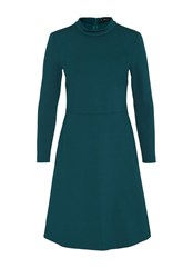 Hallhuber Jersey Dress With Stand Collar Blue