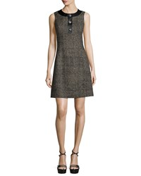 Michael Kors Collection Sleeveless Button Front A Line Dress Hemp Black Women's Size 2