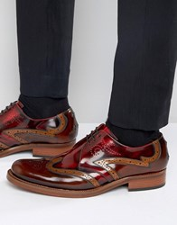 Jeffery West Corleone Leather Derby Brogues Red