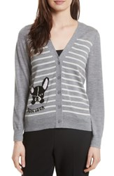 Kate Spade Women's New York Frenchie Stripe Cardigan Grey