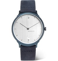 Mondaine Helvetica No1 Light Brushed Stainless Steel And Suede Watch Navy