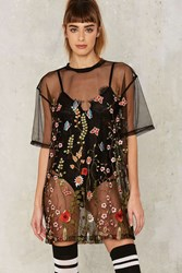 Jaded London Mother Nature Embroidered Mesh Dress Black