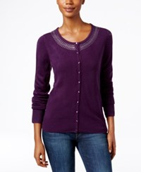 Karen Scott Rhinestone Cardigan Only At Macy's Purple Dynasty